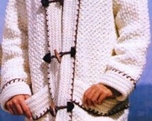 CROCHET  Womens Hooded Sweater Coat Jacket pattern,  Hooded Duffle Toggled Buttoned Down Coat PATTERN - PDF Download