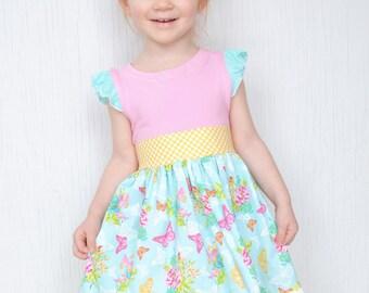Girls Dress, Butterfly Dress, Baby Girl Dress, Toddler Dress, Spring Party Dress, Flutter Sleeve Dress, Boutique Girls Dress, Knit Dress