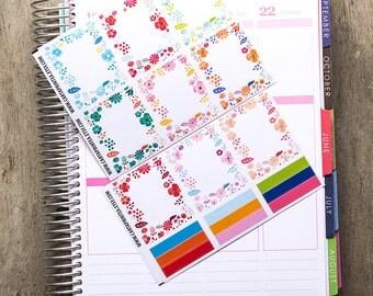 9 full box sticker, square sticker, planner stickers, scrapbook reminder, floral flower spring