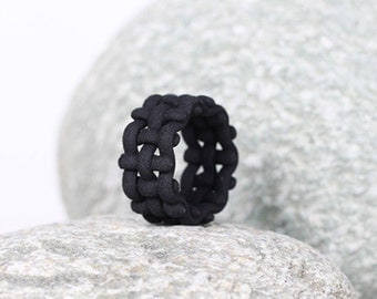 Wide Statement Ring, Wide Ring Band, Large Ring Band, Statement Jewelry, Chunky Ring, Black Wide Ring, Gift for Her, Woven Ring