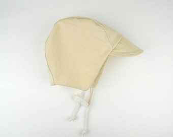 Sun Cap in Butter Bean: MADE TO ORDER in size Preemie to 3-6 Months - Sun hat for baby
