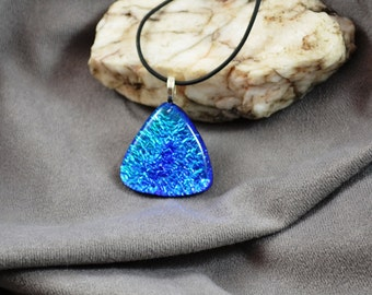 fused glass dichroic pendant, blue dazzle, triangular, handmade, kiln fired