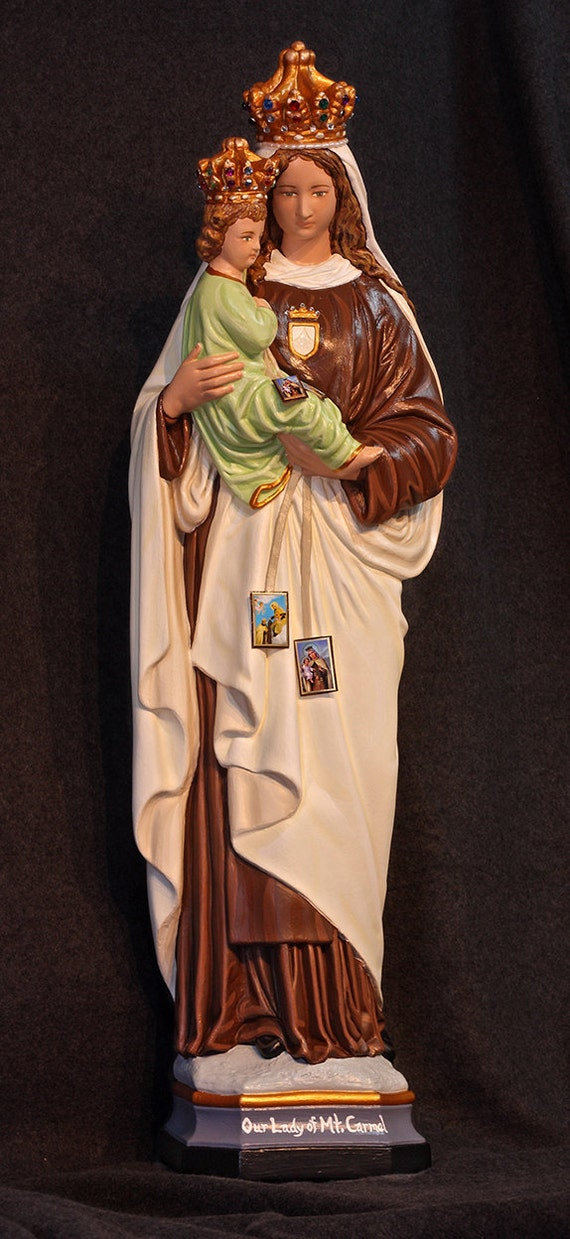 "Our Lady of Mt. Carmel 26"" Catholic Christian Virgin Mother Mary Plaster Statue"