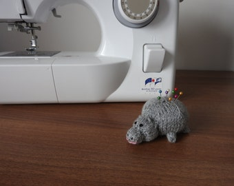 Hippo Pin Cushion Critter, Desk Toy, #OOAK, Hand knitted