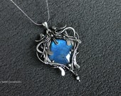 Silver pendant Sky - Wire wrapped silver pendant with blue labradorite - Gift for her - Silver pendant for women