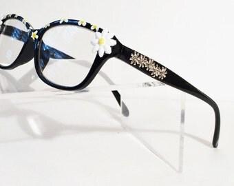 Daisy reading glasses +1.50, White daisy, Funky, Fun, Flowers, Bling