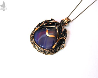 Best friend Gift-for-mom Lilac jewelry Purple necklace Agate pendant gemstone Vintage style jewelry-for-her Teardrop necklace Natural stone