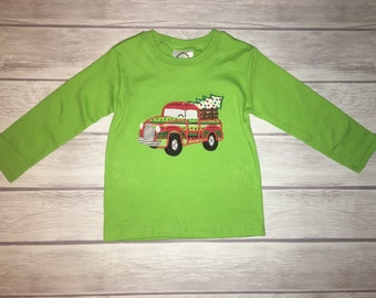 Christmas truck appliqué shirt! Many color options! With FREE monogram!