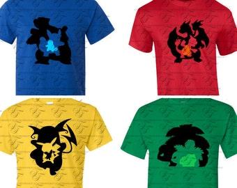 Pokemon Go shirts, Pokemon Shirts, Pokemon silhouette shirts; Charizard; pikachu; bulbasaur; squirtle,
