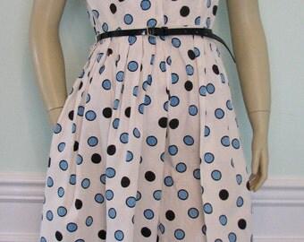 Vintage Dress Novelty Polka Dots Coquette Blues