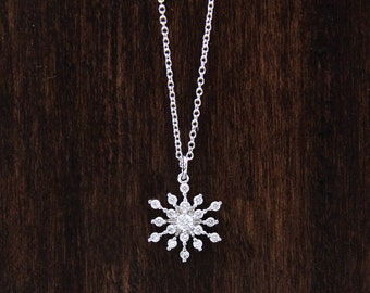 0.28 ct.tw Accent Snowflake & Flower Pendant Necklace-Brilliant Cut Diamond Simulants-Snowflake Necklace-Solid Sterling Silver [6453]