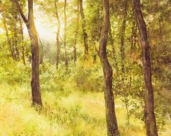 ORIGINAL watercolor painting by Katarzyna Kmiecik / landscape painting, watercolor trees, watercolor sunset, yellow trees art, sunny forest