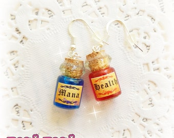 Mana And Health Potion Earrings, Gamer Jewelry, Girl Gamer Gift, Video Games, Mini Bottle Charm, Potion Charm, Mana Potion, Magic Potion