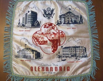1940s Souvenir Pillowcase, Alexandria Louisiana, Court House, Post Office, Hospital, Fringed