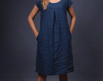Linen dress. Simple Casual organic linen clothing. Flax dress