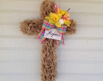 Cross wreath, Easter burlap cross wreath, Religious wreath, Spring burlap wreath, Rejoice burlap cross wreath