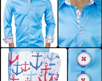 Light Blue with Anchors Designer Dress Shirt - Made in USA