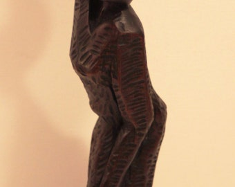 Vintage African Ebony Wood Sculpture/Carving- Woman Carrying Basket