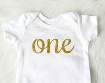 One Iron On, Gold, Iron On, DIY, Iron-On Heat Transfer, Glitter, First Birthday, Baby Girl, Cake Smash, Gold