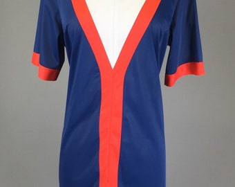 Blue, 70s, Loungewear, Sportswear Dress // 1970s, Orange, Costume, Women's Size Large