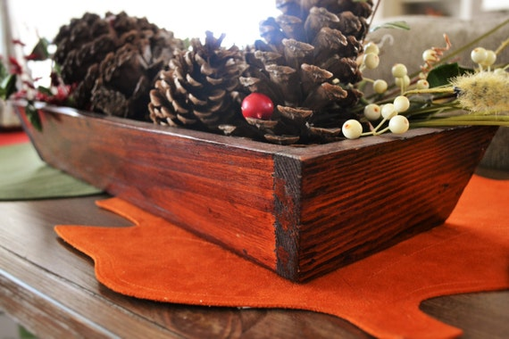 Angled wooden trough vintage centerpiece