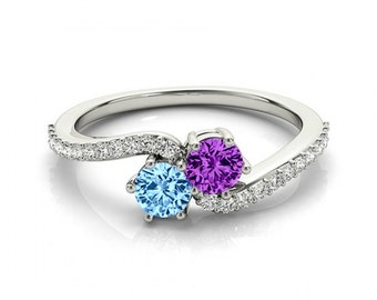 Mother's Day Birthstone Ring - Gemstone & Diamond Ring - Two Stone Rings for Women - For Mom - Blue Topaz and Amethyst Ring