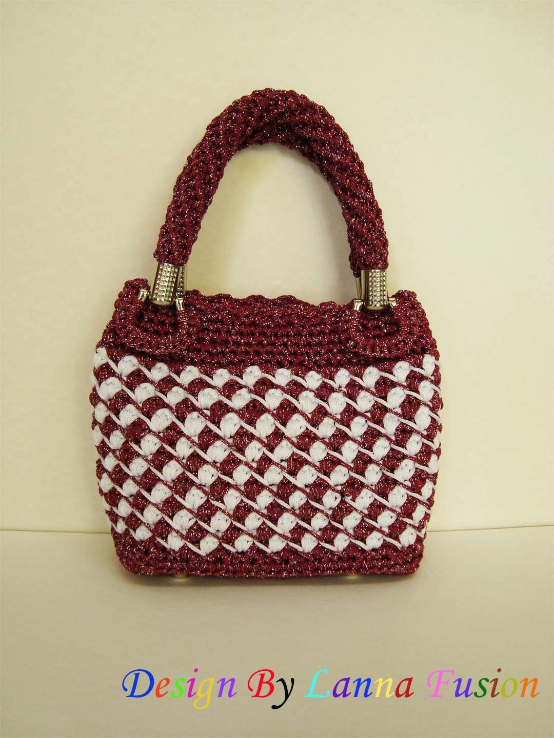 Red and White Crochet Handle bags Red and White Handbag Red