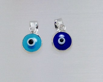 Mini Evil Eye Pendant, Blue Evil Eye Pendant Necklace 925 Sterling Silver Glass Bead 6 mm, Evil Eye Jewelry, Gift for Her