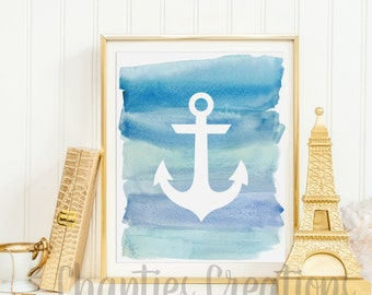 Anchor Dark Blue Ombre Watercolor Silhouette Wall Decor Printable Wall Art Beach House Print Nautical Nursery Wall Decor Ocean Print