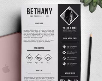 2 Page Media Kit 'Bethany' High Contrast Black and White