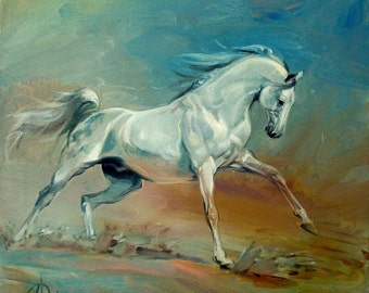Horse painting, Oil painting on canvas, Beautiful horse, White horse
