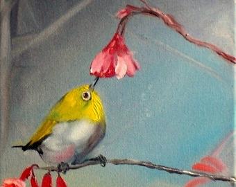 Tiny bird painting Oil Bird painting on canvas Original