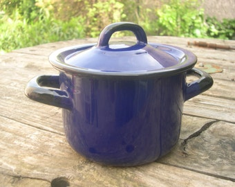 Made all email 50s 40's VINTAGE blue french enameled pot metal former Pan kitchen 1950 1940