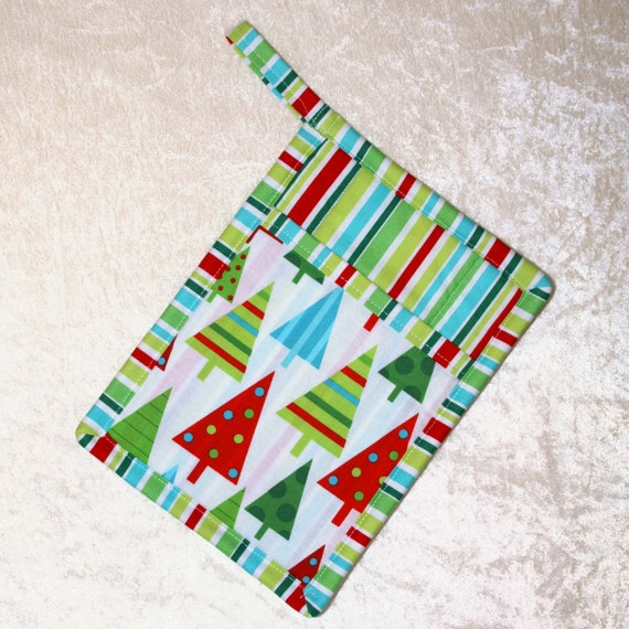 Christmas Tree Graphic Organizer: Quilted Pocket Pot Holder Christmas Hot Pad By