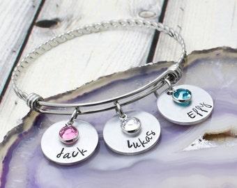 Hand Stamped Mothers Bracelet - Custom Grandmother Bracelet - Personalized Name Bracelet for Mom - Mom Bracelet with Kids Names