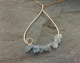 Aquamarine Gemstone Gold Necklace