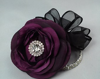 Ready to Ship Plum Corsage-Purple Corsage- Wrist Corsage-Rhinestone Corsage-Silk Flower Corsage