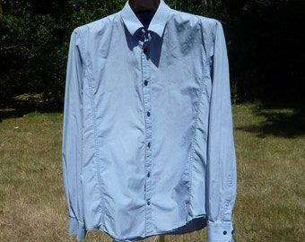 MATINIQUE 16X33 Large Blue Long Sleeve Shirt of Denmark LARGE Buttoned Front Casual or Dress Shirt Matinique of Denmark Clothing.