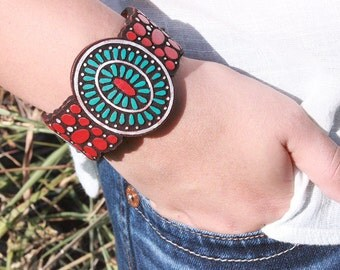 Boho Leather Cuff -Turquoise Boho Leather Bracelet - Red Boho Leather Bracelet Leather Bracelet - Leather Cuff - Bohemian/Gypsy/Hippie