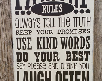 Family Rules sign,Rustic,Wood Sign