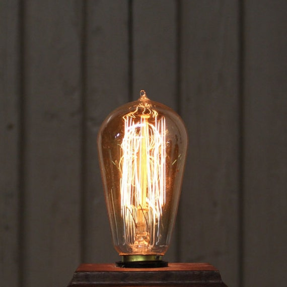 Reproduction Antique Edison Filament Light Bulb - Teardrop Style with Squirrel Cage Filament