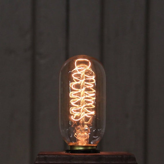 Reproduction Antique Edison Filament Light Bulb - Radio Tube Style with Spiral Filament