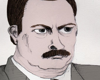 Ron Swanson Original Illustration Print