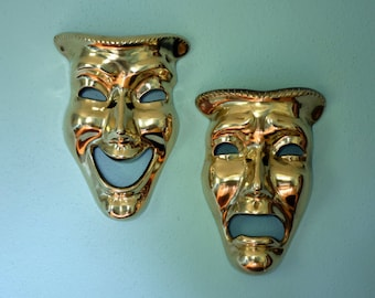 Vintage Bright Brass Comedy and Tragedy Masks Wall Decor