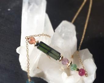Tourmaline necklace, October birthstone, birthday necklace, asymmetrical necklace, statement necklace