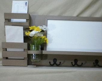 Mail Organizer - Dryerase Board - Cork Board - Chalk Board - Wood - Wall Hanging - Mail Holder - Letter Holder - EntryWay Organizer