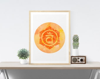 Sacral Chakra Art Wall Decor Printable Chakra Art Svadhisthana Poster Wall Art Printable Art Poster Meditation Room Art Yoga Studio Art