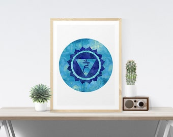 Throat Chakra Art Wall Decor Printable Visuddha Chakra Art Poster Wall Art Printable Art Poster Meditation Room Art Yoga Studio Art