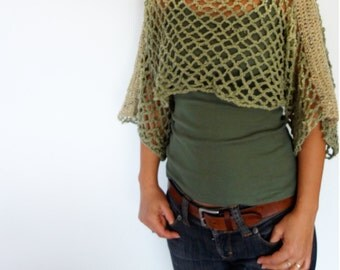 Crochet Pattern - Lattice Crop Top/ Rustic Shouders Coverup/See-through Boho Shrug/Short Sweater