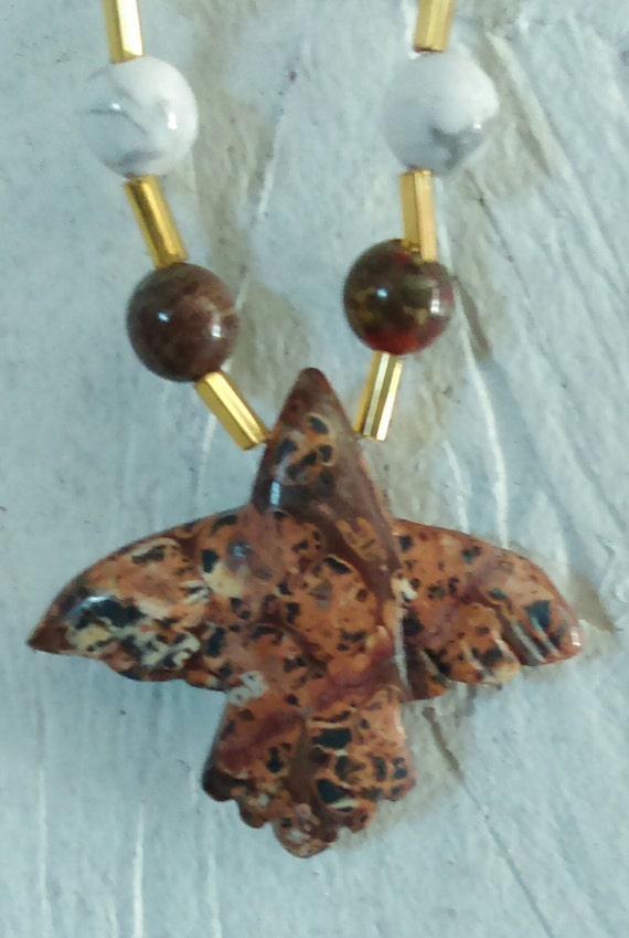 Fly Bird Jasper Leopard Skin, bead and nugget Pendent Necklace